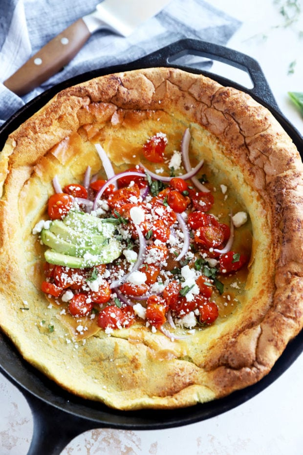 Dutch baby overhead image in skillet