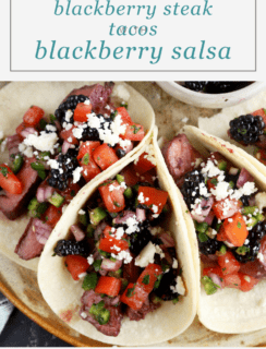 Grilled Blackberry Steak Tacos with Blackberry Salsa Pinterest image