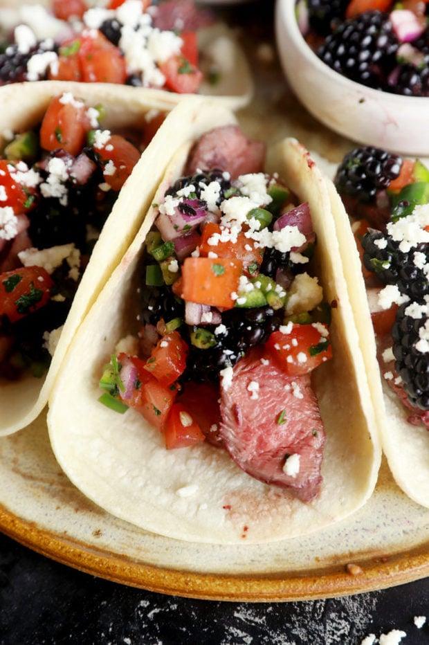 Blackberry steak tacos image