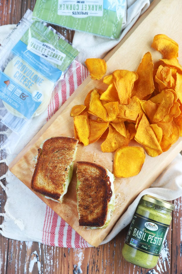 Overhead image of grilled cheese and chips