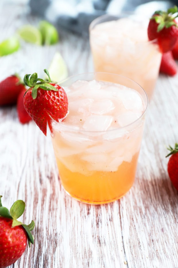 Side photo of strawberry cocktail