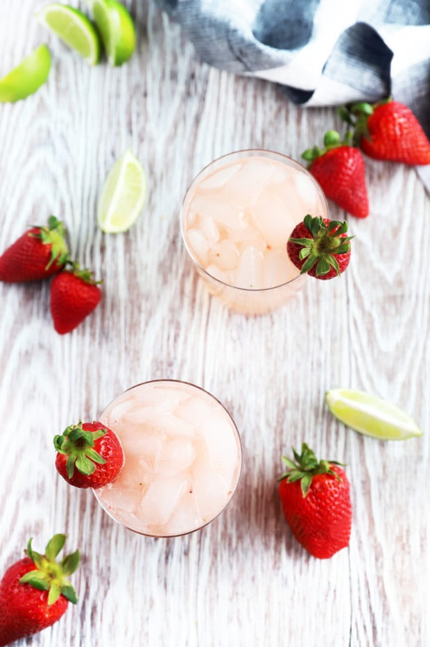 Overhead photo of strawberry tequila fizz
