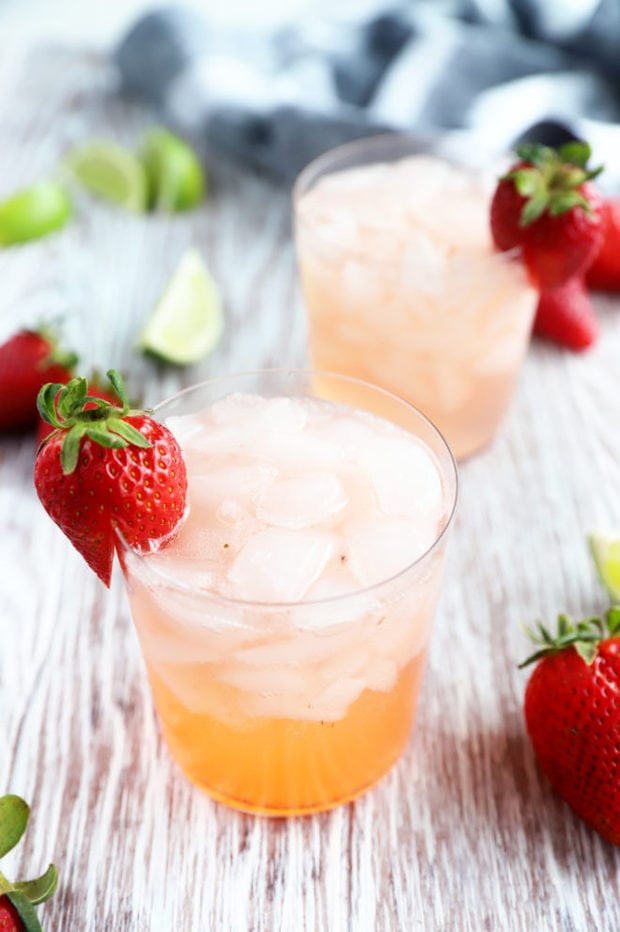 Photograph of tequila fizz with strawberries
