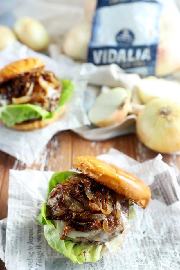 Cheeseburger photo with sweet Vidalia onions
