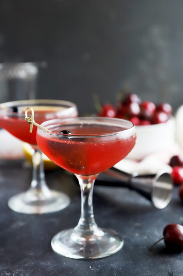 Cherry cocktail in glasses picture