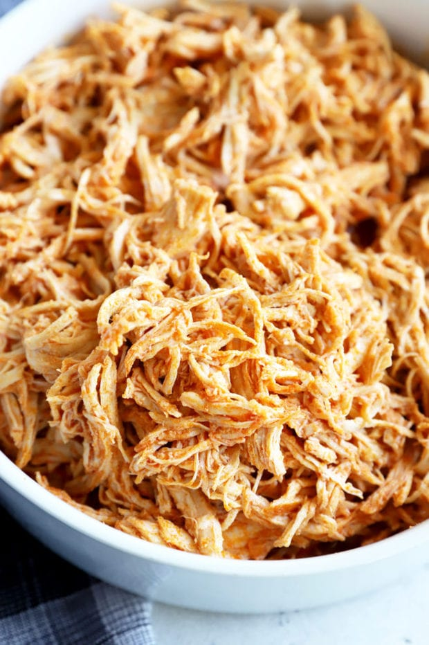Instant pot shredded buffalo chicken in a bowl image