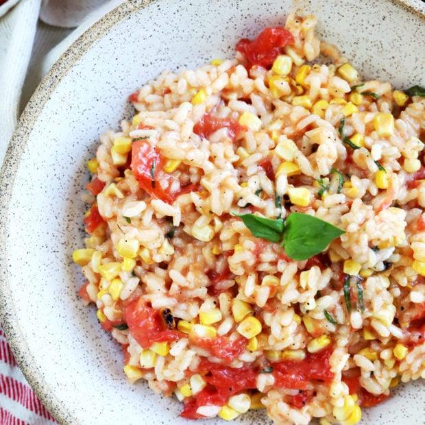 Overhead photo of summer tomato corn risotto