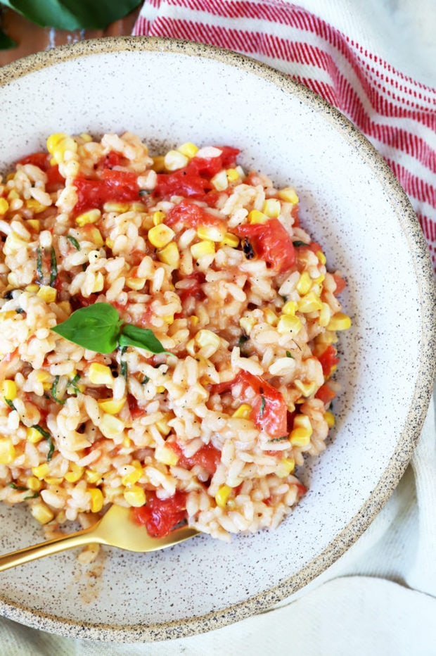 Image of summer risotto overhead in bowl