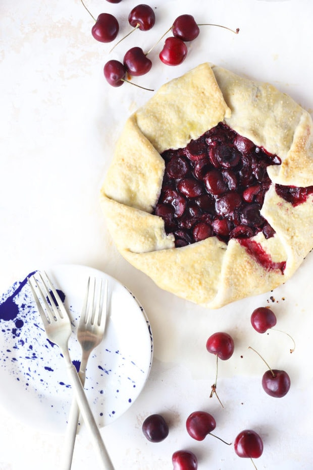 Overhead image of galette and cherries