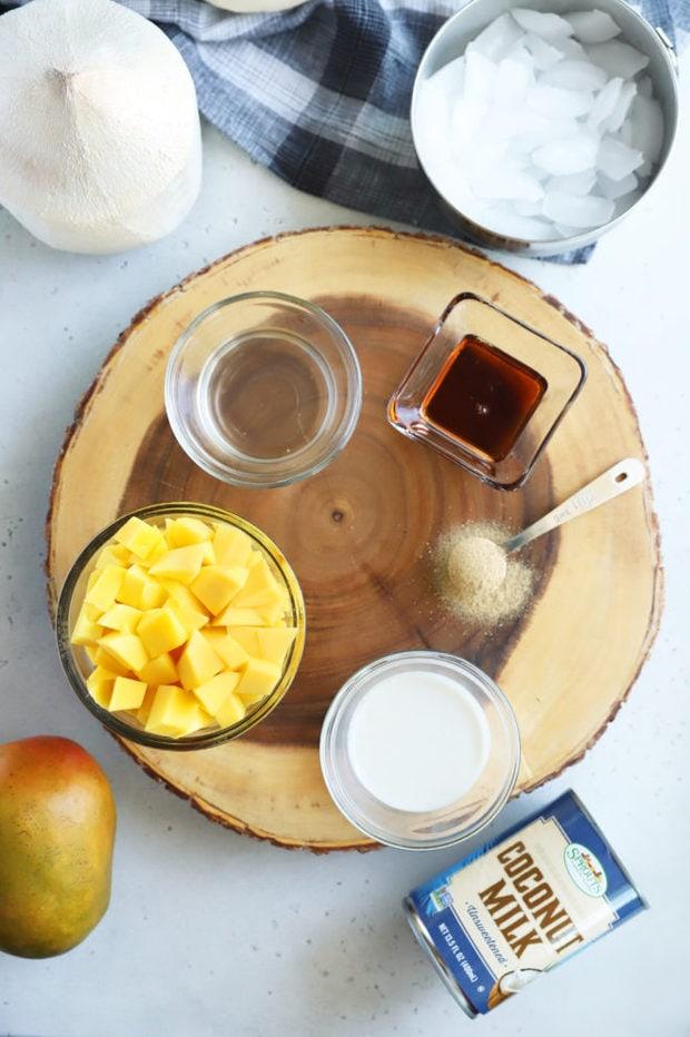 Coconut mango lassi ingredients photo