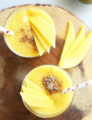 Overhead photo of mango drinks