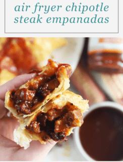 Chipotle BBQ Steak Air Fryer Empanadas Pinterest Graphic