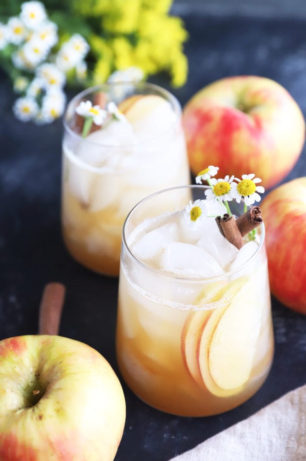 Apple fall cocktails in glasses photo