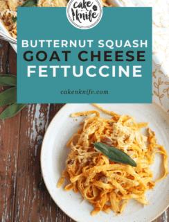 Butternut Squash Goat Cheese Fettuccine Bake Pinterest Image
