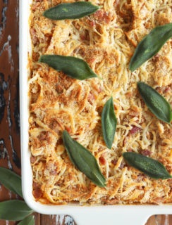 Overhead photo of baked fettuccine with butternut squash