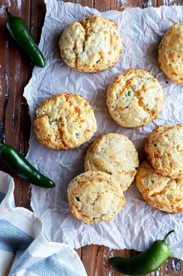 Overhead image of jalapeño cheddar biscuits