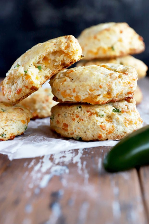 Side photo of biscuits stack