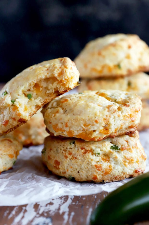 Biscuits in a pile with jalapeño and cheddar image